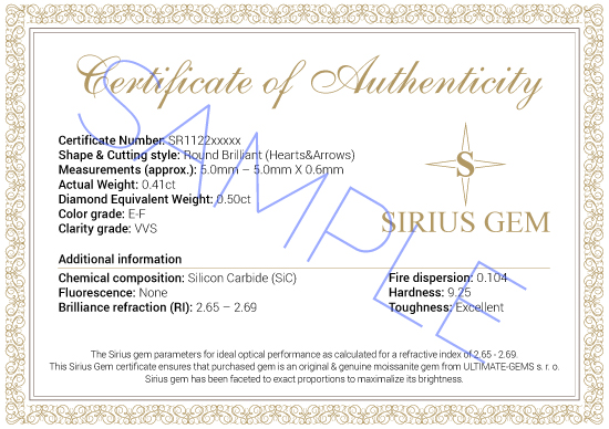 SIRIUS GEM Certificate - SAMPLE
